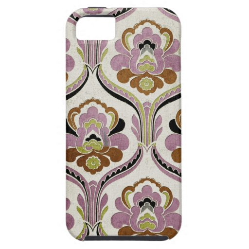 Fancy Damasks Pink Green Pattern Background iPhone 5 Cases
