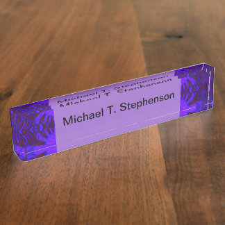 Fancy Dark Purple Abstract Design Nameplate