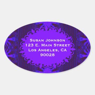 Fancy Dark Purple Blue Abstract Oval Sticker