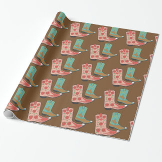 Fancy Decorated Cowboy Boots Wrapping Paper