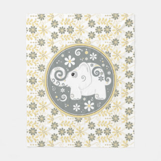 Fancy Decorated Elephant Floral Yellow Grey White Fleece Blanket