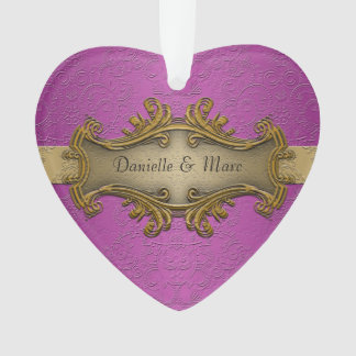 Fancy Elegant Gold and Purple Wedding Ornament