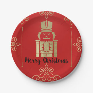 Fancy Elegant Gold & Red Nutcracker Holiday Party Paper Plate