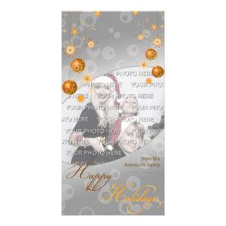 Fancy Elegant Gold Yellow Christmas Decorations Photo Greeting Card