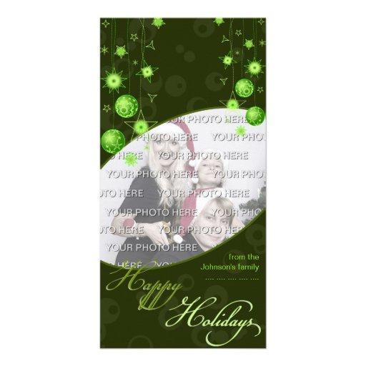 Fancy Elegant Green Christmas Decorations on Dark Photo Greeting Card
