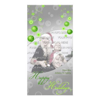 Fancy Elegant Green Christmas Decorations Customized Photo Card