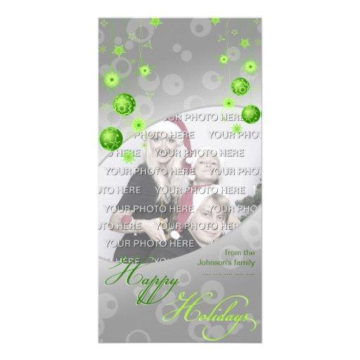 Fancy Elegant Green Christmas Decorations Customized Photo Card