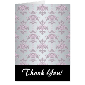 Fancy Elegant Pink and Silvery White Damask Card