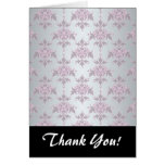 Fancy Elegant Pink and Silvery White Damask Note Card
