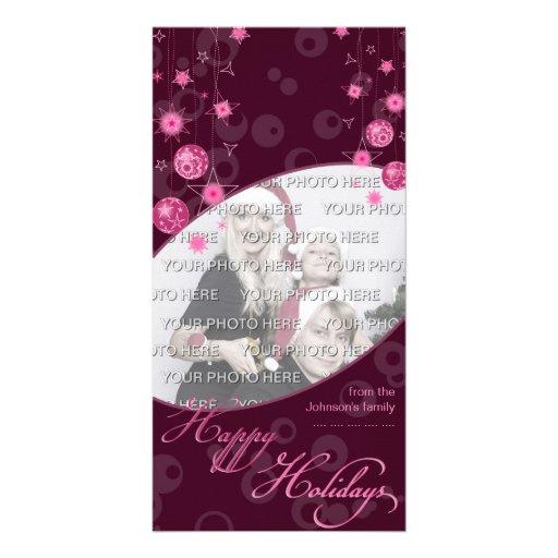Fancy Elegant Pink Christmas Decorations on Dark Custom Photo Card