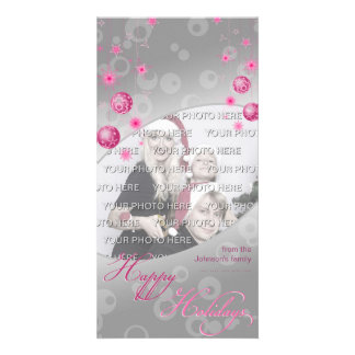 Fancy Elegant Pink Christmas Decorations Photo Cards