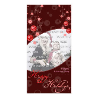 Fancy Elegant Red Christmas Decorations on Dark Photo Card Template