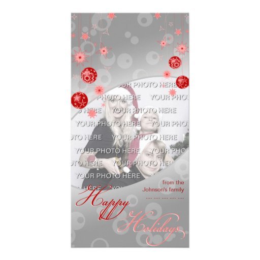 Fancy Elegant Red Christmas Decorations Photo Card