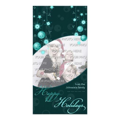 Fancy Elegant Turquoise Christmas Decorations on D Customized Photo Card