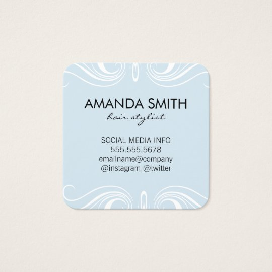Fancy Elements / Baby Blue Square Business Card