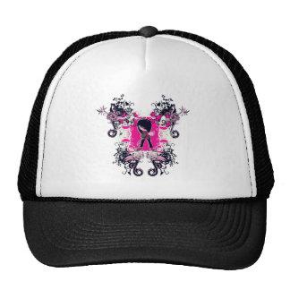 fancy emo girl kid with crossbone skull swirls hat