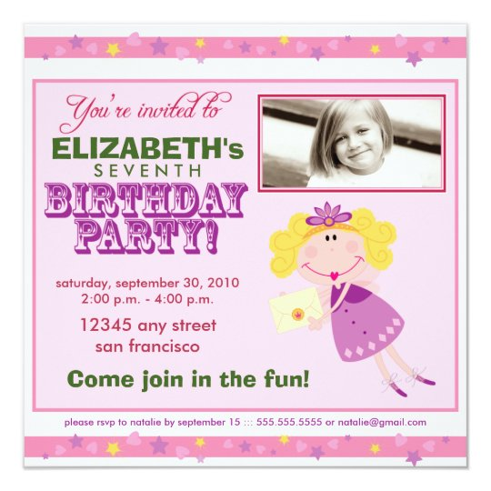 Fancy Fairy Girls Birthday Party Invitation: pink Card
