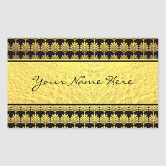Fancy Faux Gold Art Deco with Name Rectangular Sticker