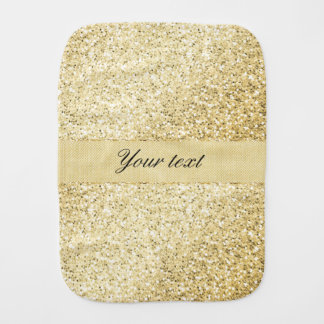 Fancy Faux Gold Glitter Personalized Baby Burp Cloths