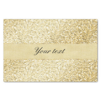 Fancy Faux Gold Glitter Personalized Tissue Paper