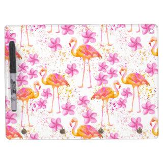 Fancy Flamingo Dry Erase Board With Key Ring Holder