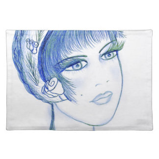 fancy flapper in blues place mat