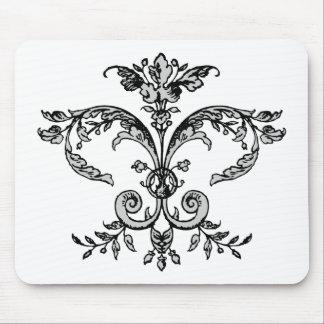 Fancy Fleurish BW Mouse Pad