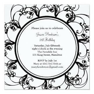 "Fancy Floral 21st Birthday Invite 5.25"" Square Invitation Card"