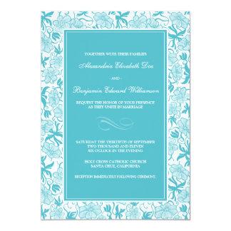 Fancy Floral Aqua Wedding Invitation