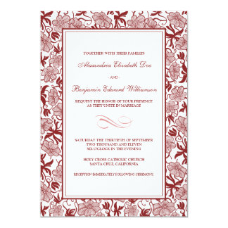 Fancy Floral Cranberry Wedding Invitation
