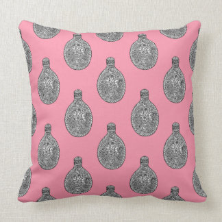 Fancy Floral Flasks Rose Pink Throw Pillow