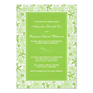 Fancy Floral Green Apple Wedding Invitation