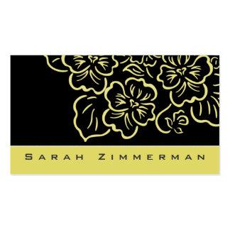 Fancy Floral Lemon Yellow Business Card