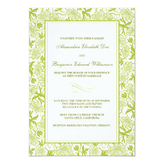 Fancy Floral Lime Green Wedding Invitation