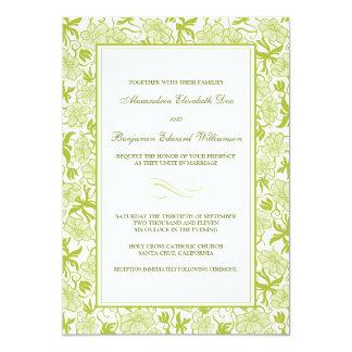 Fancy Floral Lime Green Wedding Invitation