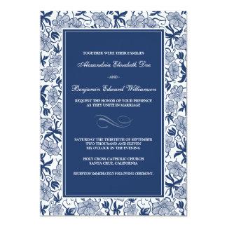 Fancy Floral Navy Blue Wedding Invitation