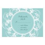 Fancy Floral RSVP (turquoise) Custom Announcement
