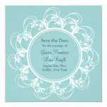 Fancy Floral Save the Date (turquoise) Invite