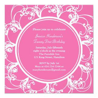 "Fancy Floral Twenty First Birthday Invite fuchsia 5.25"" Square Invitation Card"