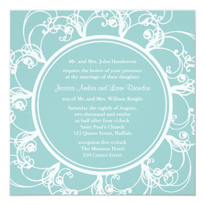 Fancy Floral Wedding Invitation (turquoise)