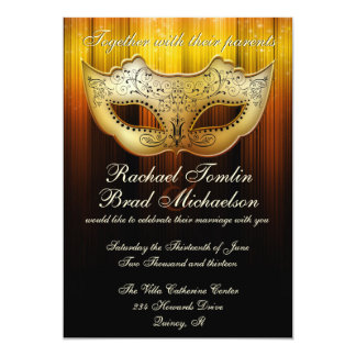 Fancy Flourish Gold Masquerade Wedding Invite