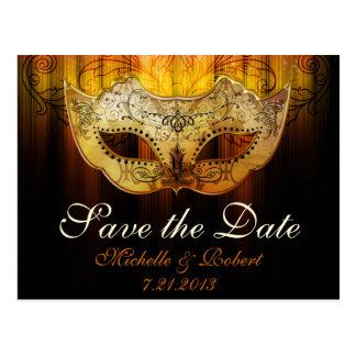 Fancy Flourish Gold Masquerade Wedding Save the Da Postcard