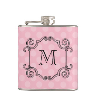 Fancy Flourish Monogram Choose Color Hip Flask