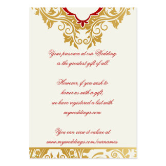 Fancy Flourishes Golden Wedding Gift Registry Card Pack Of Chubby Business Cards