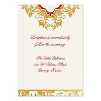 Fancy Flourishes Golden Wedding Reception Cards Pack Of Chubby Business Cards