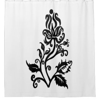 Fancy Flower Silhouette Shower Curtain