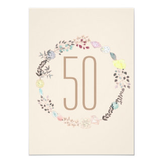 Fancy Flowers and Diamonds 50th Birthday 13 Cm X 18 Cm Invitation Card