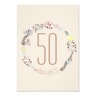 Fancy Flowers and Diamonds 50th Birthday 13 Cm X 18 Cm Invitation Card