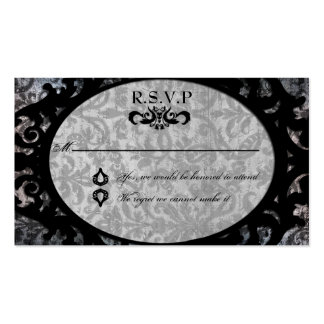 Fancy Framed Black Damask RSVP Cards Business Card
