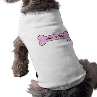 Fancy Girl Pink Bone Personalized Name Sleeveless Dog Shirt